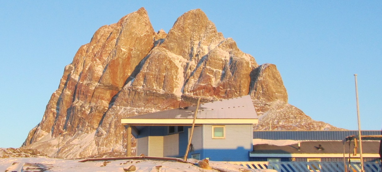 Uummannaq Mountain and The Children's Home on the 5th of Febrary 2012